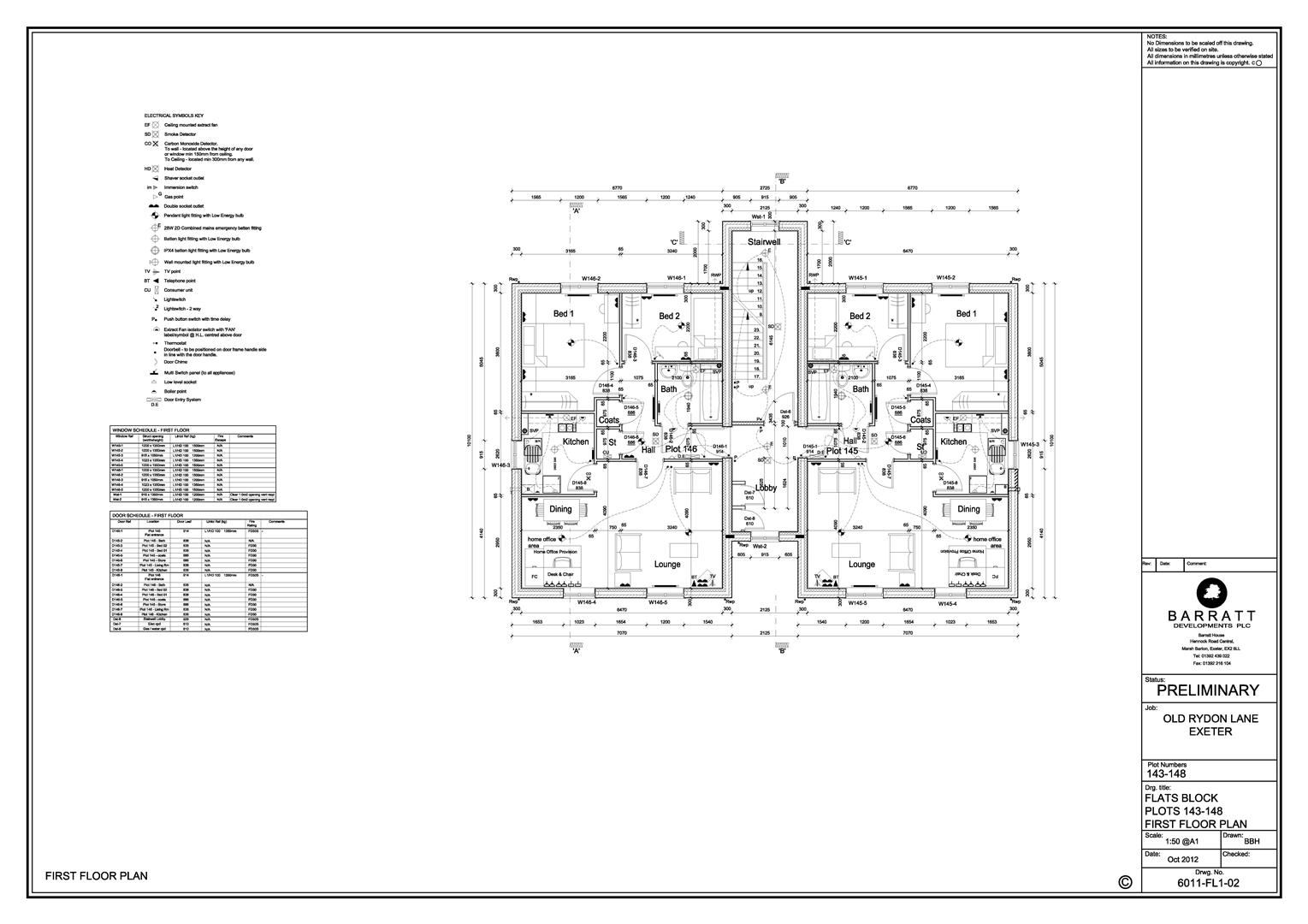 Old Rydon Lane_Plots 143-148 Flats_First Floor Pla